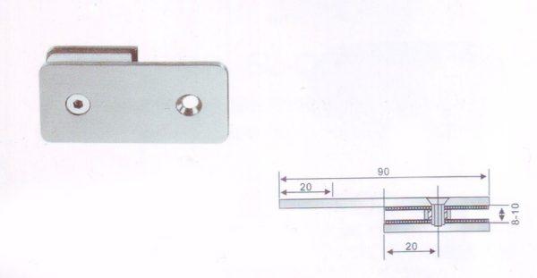 Коннектор из нержавеющей стали 180гр стена-стекло