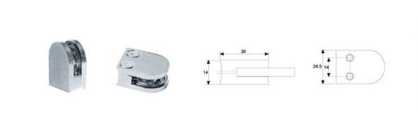 Коннектор малый (к стене ) Выс 28 мм, Шир 24 мм стекло 5-6 мм