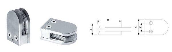 Коннектор труба-стекло высота 65 мм ширина 43 мм 10-12 мм