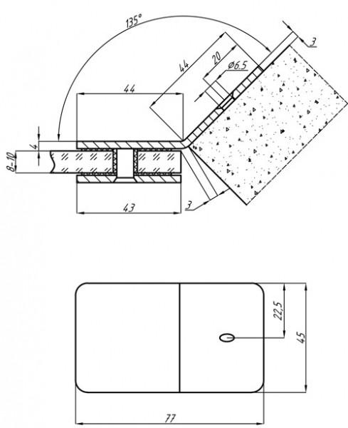 Коннектор из нержавеющей стали 135гр стена-стекло