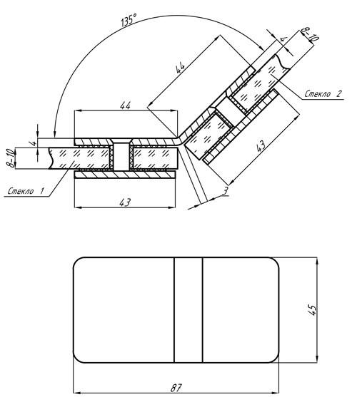Коннектор из нержавеющей стали 135гр стекло-стекло