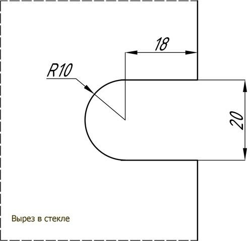 Коннектор 180 гр стена-стекло