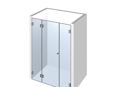 Душевая перегородка из стекла: дверь+2 добора. Ширина проема 1100 мм.