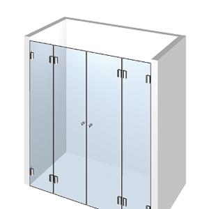 Душевая перегородка из стекла: 2 двери +2 добора. Ширина проема 1100 мм.