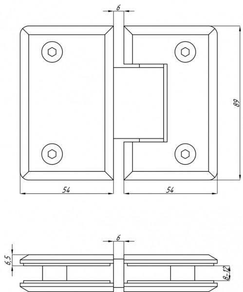 Петля для душевой кабины стекло-стекло хром