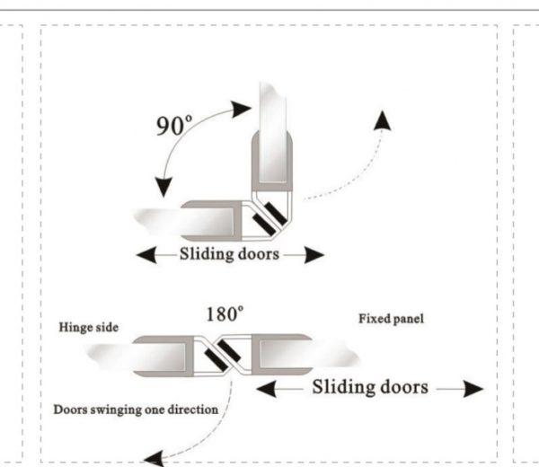 Профиль магнитный стекло 8 мм 2.5 метра 90,180,165 градусов