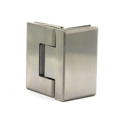 Стеклопетля 90 гр AISI 201 стекло-стекло матовая нерж.