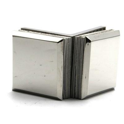 Коннектор 90 гр AISI 304 стекло-стекло матовая нерж.