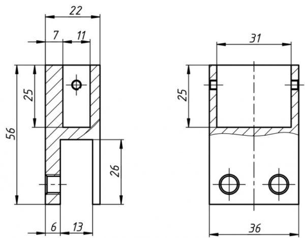 Коннектор для профиля 10*30 180гр