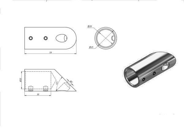Соединитель для душевой штанги труба-стена Ø 19мм угол 45 градусов матовый хром