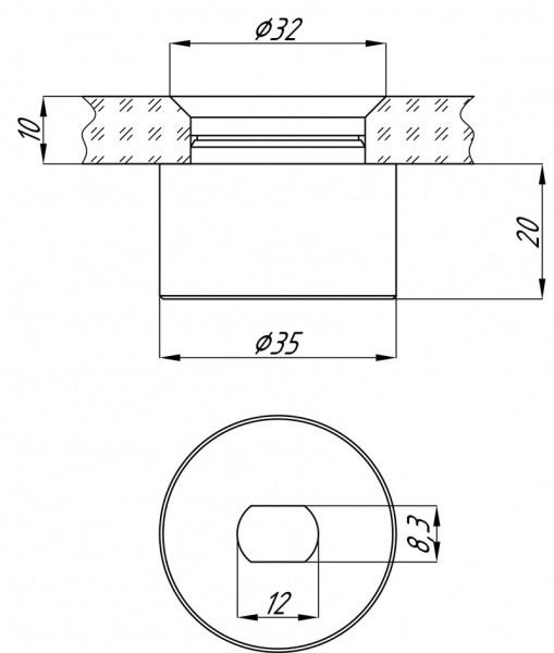 Точечное крепление для стекла под зинковку отступ 19,5мм не регулируемый