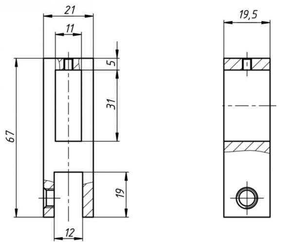 Коннектор для профильной трубы 10*30