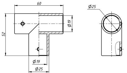 Соединитель тройник для душевой штанги 19мм