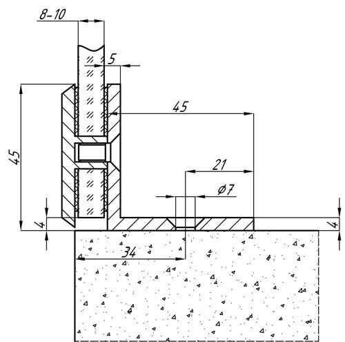 Коннектор 90 гр. стена-стекло матовый хром