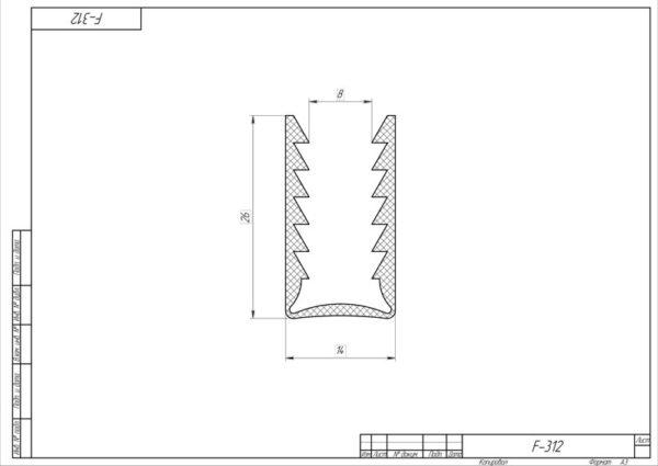 Уплотнитель ПВХ 2.2 метра для профиля арт 1587